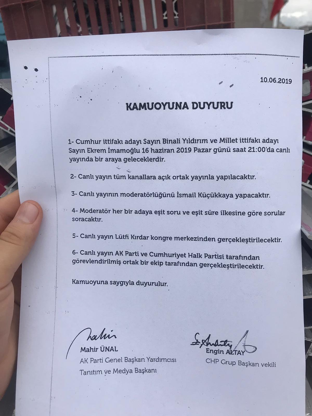 İŞTE, ORTAK CANLI YAYININ PROTOKOLÜ..