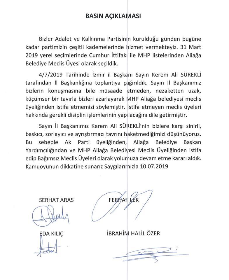 ALİAĞA'DA AK PARTİLİ 4 MECLİS ÜYESİ İSTİFA ETTİ!