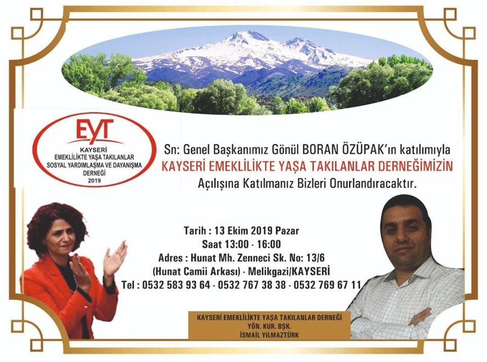 EYT KAYSERİ DERNEĞİ, PAZAR GÜNÜ AÇILIYOR..