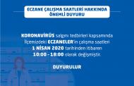 ECZANELERİN ÇALIŞMA SAATLERİNDE DEĞİŞİKLİK..