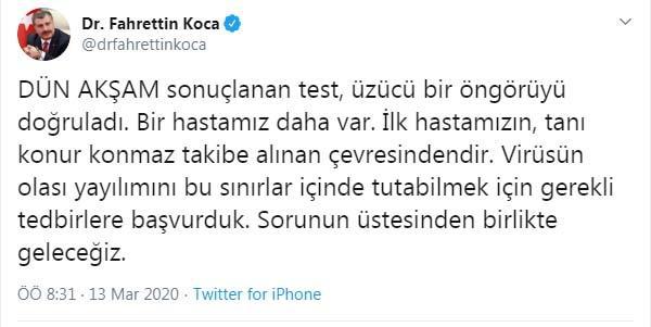 TÜRKİYE'DE İKİNCİ KORONAVİRÜS VAKASI!