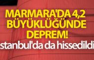 Marmara Denizi'nde 4.2 büyüklüğünde deprem! İstanbul'da da hissedildi