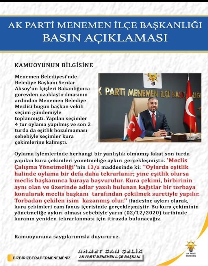 AKP'DEN MENEMEN SEÇİMİ SONUCUNA İTİRAZ!..