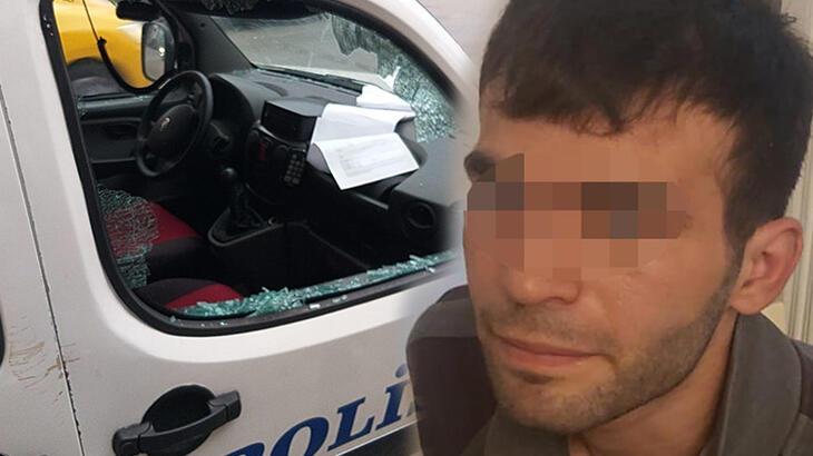 POLİS OTOLARININ CAMLARINI KIRDI, TUTUKLANMAK İÇİN YAPTIM DEDİ..