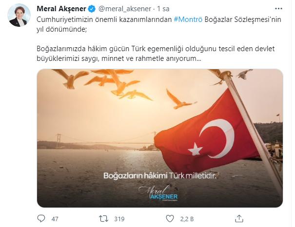 AKŞENER'DEN, MONTRÖ BOĞAZLAR SÖZLEŞMESİ MESAJI...