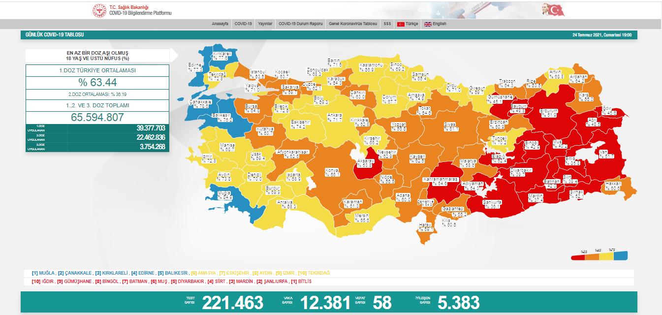 12.381 YENİ VAKA, 58 VEFAT...