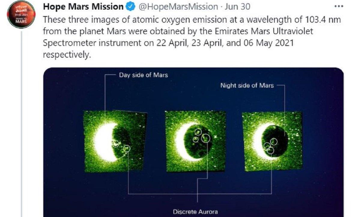 Hope, Mars'ın Kuzey Işıklarını Görüntüledi..